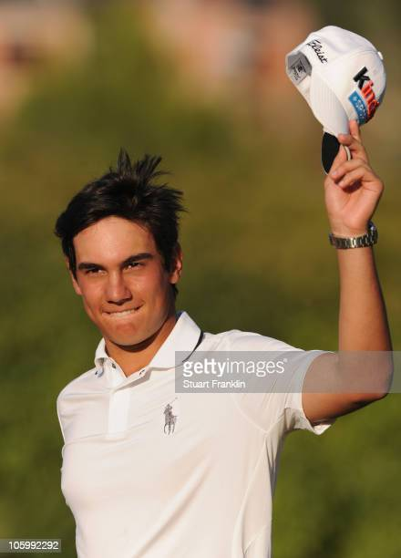Matteo Manassero of Italy celebrates winning his first professional tournament at the age of 17 during the final round of the Castello Masters Costa...