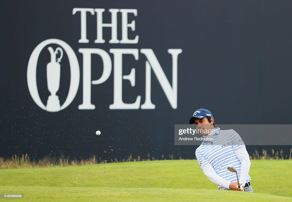 Matteo Manassero of Italy hits a shot on the 10th during a practice round ahead of the 145th Open Championship at Royal Troon on July 12, 2016 in Troon, Scotland.