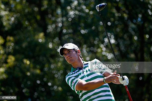 Matteo Manassero of Italy hits a tee shot on the 7th hole during the second round of the Valspar Championship at Innisbrook Resort and Golf Club on...