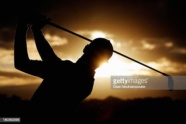Matteo Manassero of Italy hits his practice shot on the driving range prior to Day 1 of the KLM Open at Kennemer G CC on September 12 2013 in...