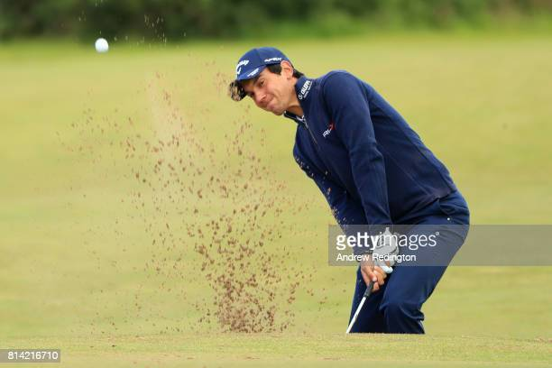 Matteo Manassero of Italy hits his third shot on the 3rd hole during day two of the AAM Scottish Open at Dundonald Links Golf Course on July 14 2017...
