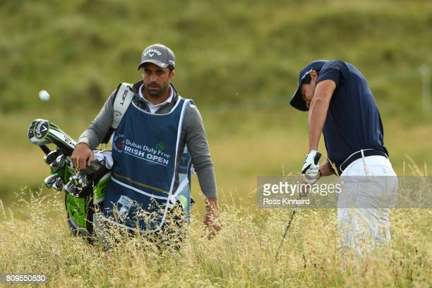 Matteo Manassero of Italy hits his third shot on the 4th hole during day one of the Dubai Duty Free Irish Open at Portstewart Golf Club on July 6...