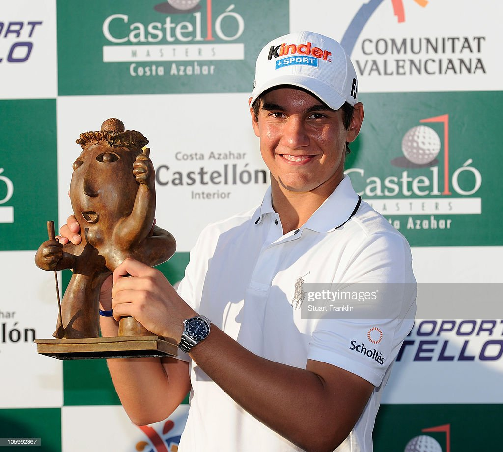 <a gi-track='captionPersonalityLinkClicked' href=/galleries/search?phrase=Matteo+Manassero&family=editorial&specificpeople=4479535 ng-click='$event.stopPropagation()'>Matteo Manassero</a> of Italy holds the trophy after winning his first professional tournament at the age of 17 after the final round of the Castello Masters Costa Azahar at the Club de Campo del Mediterraneo on October 24, 2010 in Castellon de la Plana, Spain.