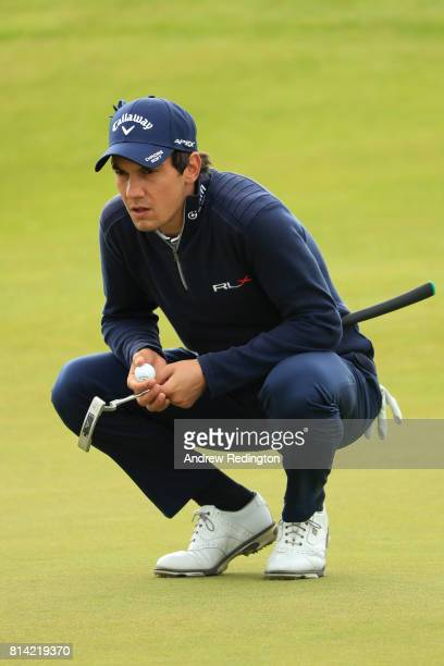 Matteo Manassero of Italy lines up a putt on the 4th green during day two of the AAM Scottish Open at Dundonald Links Golf Course on July 14 2017 in...