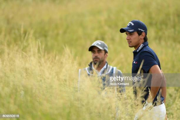 Matteo Manassero of Italy looks down the 4th hole during day one of the Dubai Duty Free Irish Open at Portstewart Golf Club on July 6 2017 in...