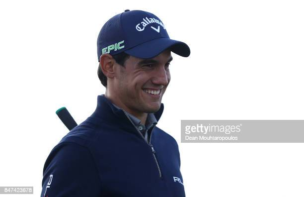 Matteo Manassero of Italy looks on on the 9th hole during day two of the KLM Open at The Dutch on September 15 2017 in Spijk Netherlands