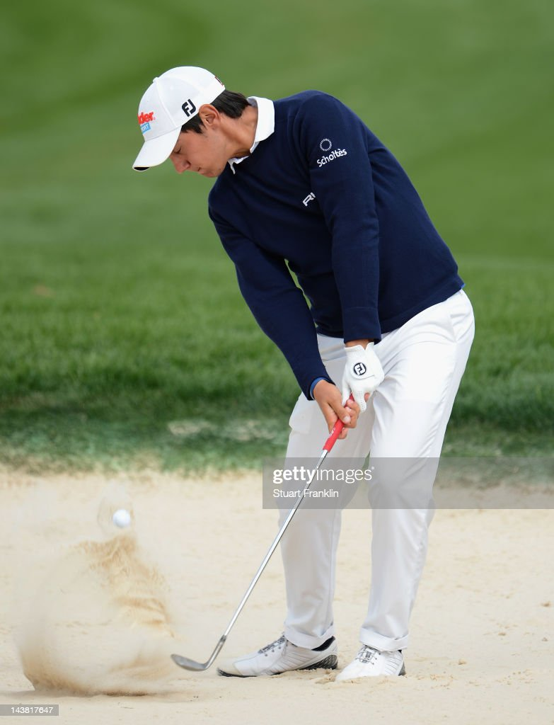 Matteo Manassero of Italy plays a bunker shot during the second round of the Open de Espana at Real Club de Golf de Sevilla on May 4 2012 in Seville...