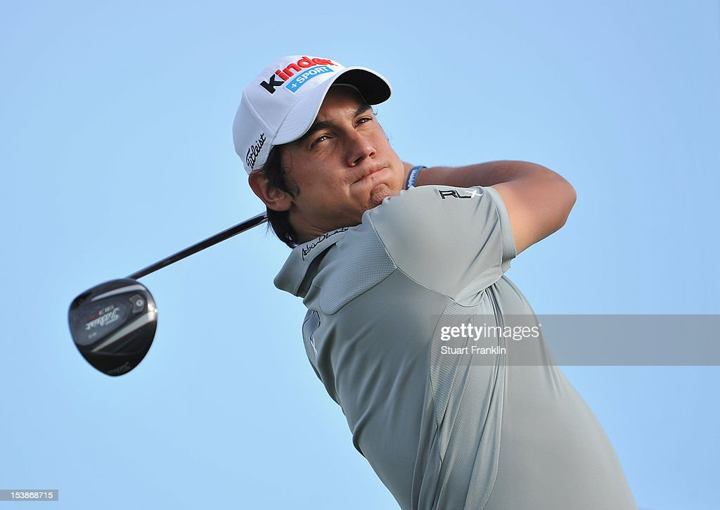 <a gi-track='captionPersonalityLinkClicked' href=/galleries/search?phrase=Matteo+Manassero&family=editorial&specificpeople=4479535 ng-click='$event.stopPropagation()'>Matteo Manassero</a> of Italy plays a shot during the pro-am prior to the start of the Portugal Masters at the Victoria golf course at Villamoura on October 10, 2012 in Faro, Portugal.