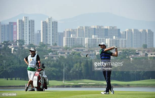 Matteo Manassero of Italy plays a shot during the second round of the Shenzhen International at Genzon Golf Club on April 17 2015 in Shenzhen China