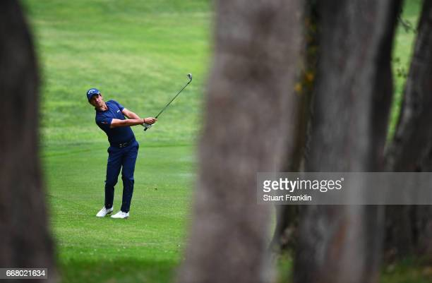 Matteo Manassero of Italy plays a shot from the fairway during the first round on day one of the Trophee Hassan II at Royal Golf Dar Es Salam on...