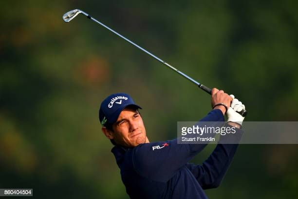 Matteo Manassero of Italy plays a shot on Day One of the Italian Open at Golf Club Milano Parco Reale di Monza on October 12 2017 in Monza Italy