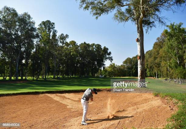 Matteo Manassero of Italy plays from a bunker during day 2 of the Trophee Hassan II at Royal Golf Dar Es Salam on April 14 2017 in Rabat Morocco