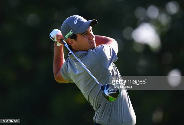 Matteo Manassero of Italy plays his first shot on the 13th tee during the Porsche European Open Day Two at Green Eagle Golf Course on July 28 2017 in...