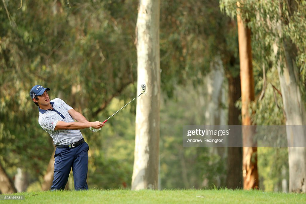 <a gi-track='captionPersonalityLinkClicked' href=/galleries/search?phrase=Matteo+Manassero&family=editorial&specificpeople=4479535 ng-click='$event.stopPropagation()'>Matteo Manassero</a> of Italy plays his second shot on the 18th during the first round of the Trophee Hassan II at Royal Golf Dar Es Salam on May 5, 2016 in Rabat, Morocco.