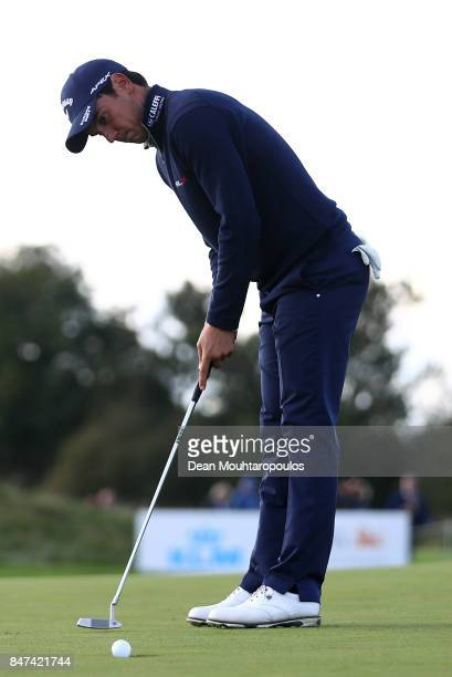 Matteo Manassero of Italy putts on the 9th hole during day two of the KLM Open at The Dutch on September 15 2017 in Spijk Netherlands