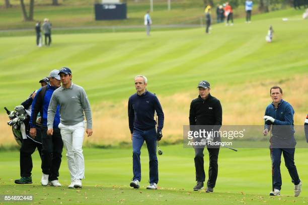 Matteo Manassero of Italy Ruby Walsh Mick Fitzgerald and AP McCoy during the pro am ahead of the British Masters at Close House Golf Club on...