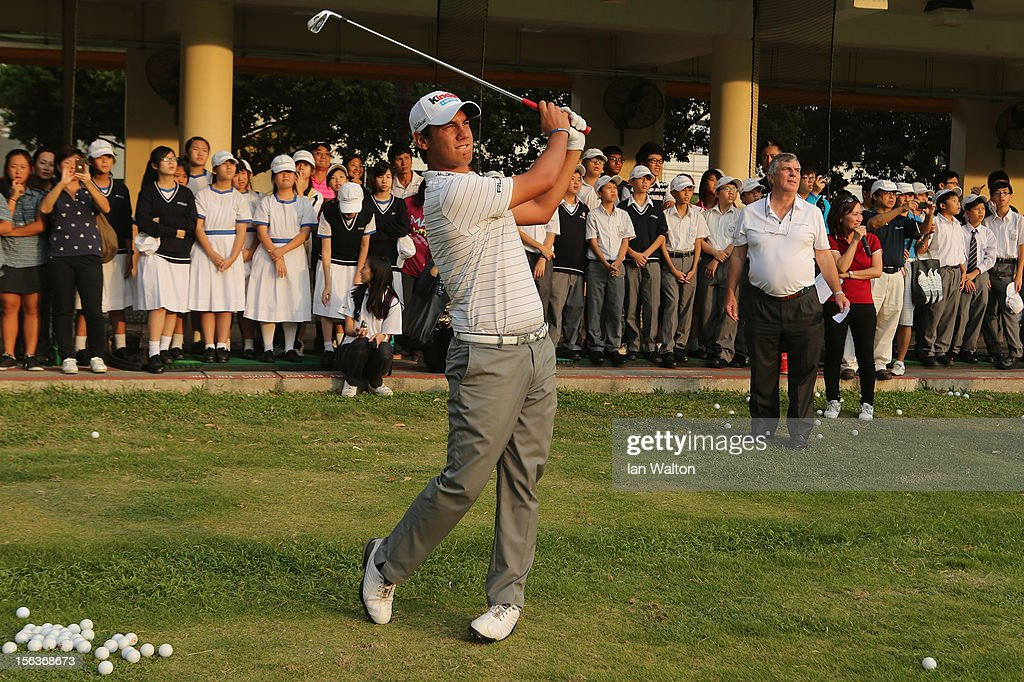 <a gi-track='captionPersonalityLinkClicked' href=/galleries/search?phrase=Matteo+Manassero&family=editorial&specificpeople=4479535 ng-click='$event.stopPropagation()'>Matteo Manassero</a> of Italy takes part in a Junior Golf Clinic at Tuen Mun Golf Centre on November 14, 2012 in Hong Kong, Hong Kong.
