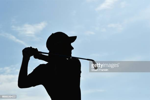 Matteo Manassero of Italy tees off during day 2 of the Trophee Hassan II at Royal Golf Dar Es Salam on April 14 2017 in Rabat Morocco