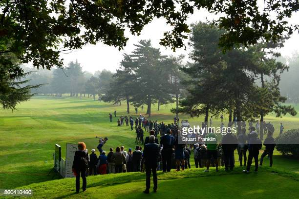 Matteo Manassero of Italy tees off on Day One of the Italian Open at Golf Club Milano Parco Reale di Monza on October 12 2017 in Monza Italy