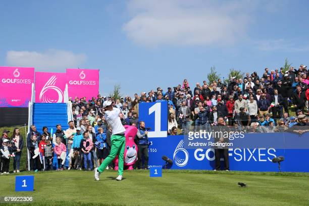 Matteo Manassero of Italy tees off on the 1st hole during the quarter final match between England and Italy during day two of GolfSixes at The...