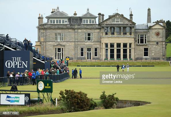 Matteo Manassero of Italy walks down the first fairway as he plays a practice round ahead of the 144th Open Championship at The Old Course on July 13...