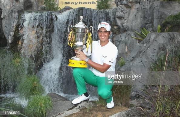 Matteo Manassero of Italy with the trophy after winning of the Maybank Malaysian Open at Kuala Lumpur Golf Country Club on April 17 2011 in Kuala...