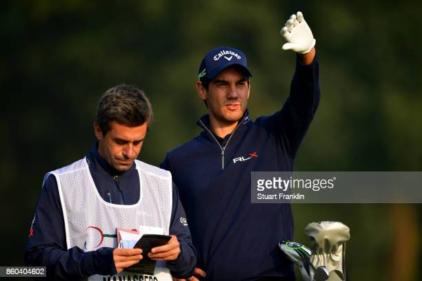 Matteo Manassero of Italyand caddy on Day One of the Italian Open at Golf Club Milano Parco Reale di Monza on October 12 2017 in Monza Italy