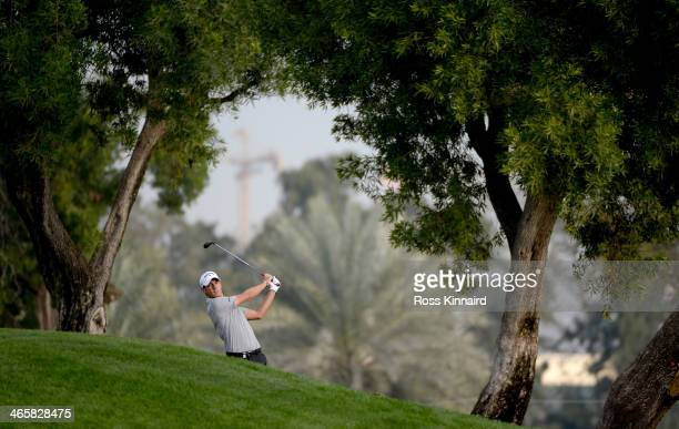 Matteo Manassero of Itlay on the 10th hole during the first round of the Omega Dubai Desert Classic on the Majlis course at the Emirates Golf Club on...