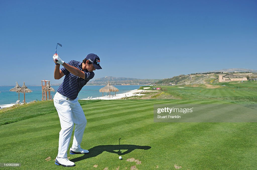 <a gi-track='captionPersonalityLinkClicked' href=/galleries/search?phrase=Matteo+Manassero&family=editorial&specificpeople=4479535 ng-click='$event.stopPropagation()'>Matteo Manassero</a> of Itlay plays a shot during the pro-am prior to the start of the Sicilian Open at Verdura Golf and Spa Resort on March 28, 2012 in Sciacca, Italy.