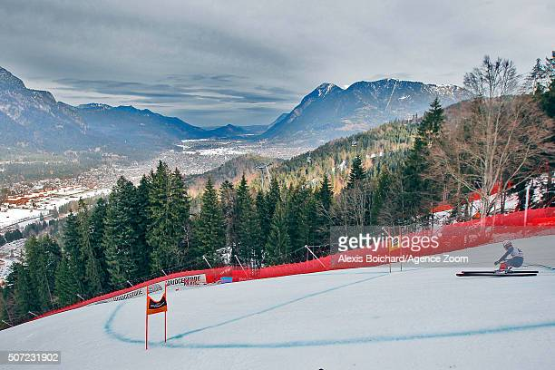 Matteo Marsaglia of Italy in action during the Audi FIS Alpine Ski World Cup Men's Downhill Training on January 28 2016 in GarmischPartenkirchen...
