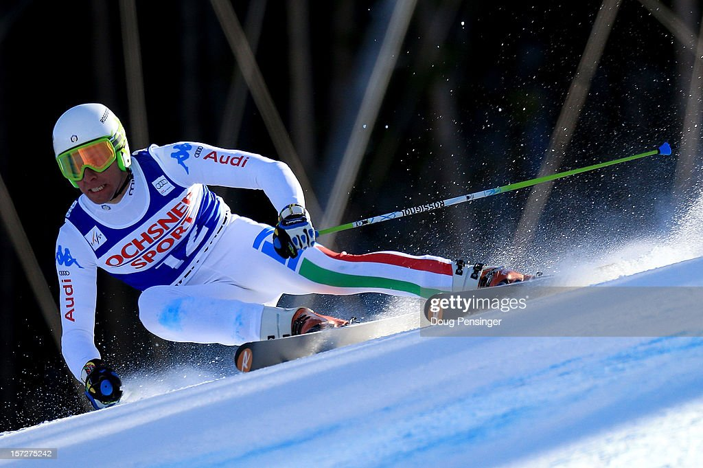 Matteo Marsaglia of Italy skis to first place in the men's Super G on the Birds of Prey at the Audi FIS World Cup on December 1, 2012 in Beaver Creek, Colorado.