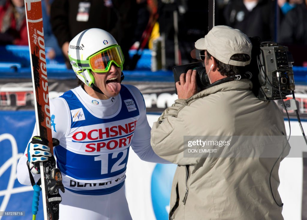 Matteo Marsaglia of Italy sticks his tongue out at the cameraman after winning the FIS Alpine World Cup men's Super G on December 1, 2012 in Beaver Creek, Colorado.