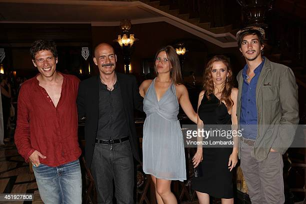 Matteo Martari Gianmarco Tognazi Lucrezia Pivato Chiara Iezzi and Josè Dammert attend the Under The Series Web Series Premiere on July 9 2014 in...