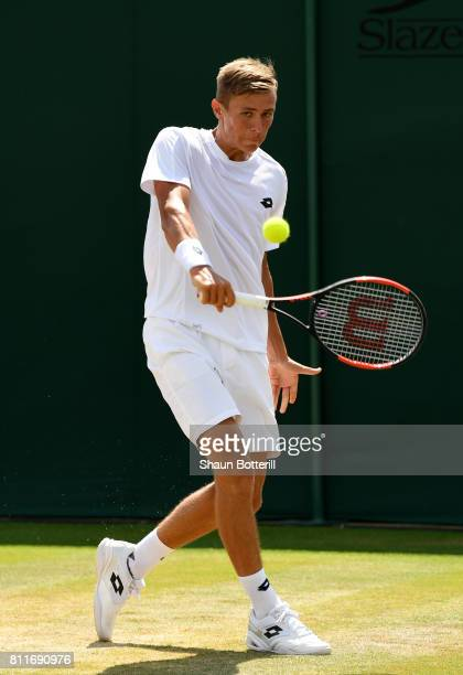Matteo Martineau of France plays a backhand during the Boy's Singles first round match against Siddhant Banthia of India on day seven of the...