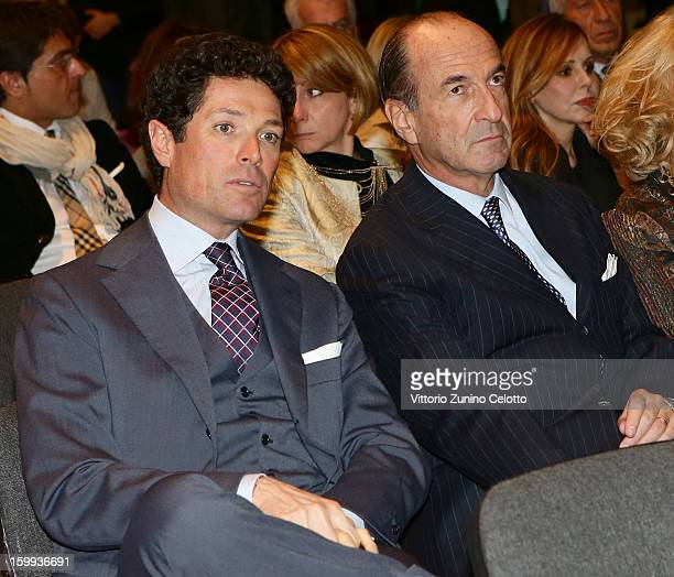 Matteo Marzotto and Michele Norsa attend the Sotheby's charity auction for FFC Onlus on January 23 2013 in Milan Italy