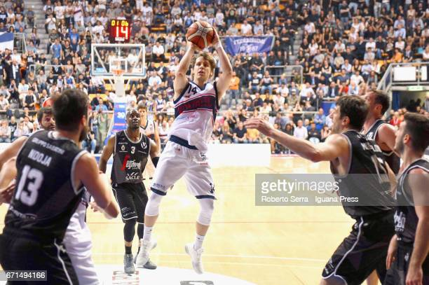 Matteo Montano of Kontatto competes with Klaudio Ndoja Michael Umeh Andrea Michelori Guido Rosselli Marco Spissu of Segafredo during the LegaBasket...