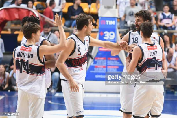 Matteo Montano Stefano Mancinelli Luca Gandini Leonardo Candi of Kontatto celebrates during the LegaBasket LNP of serie A2 match between Fortitudo...