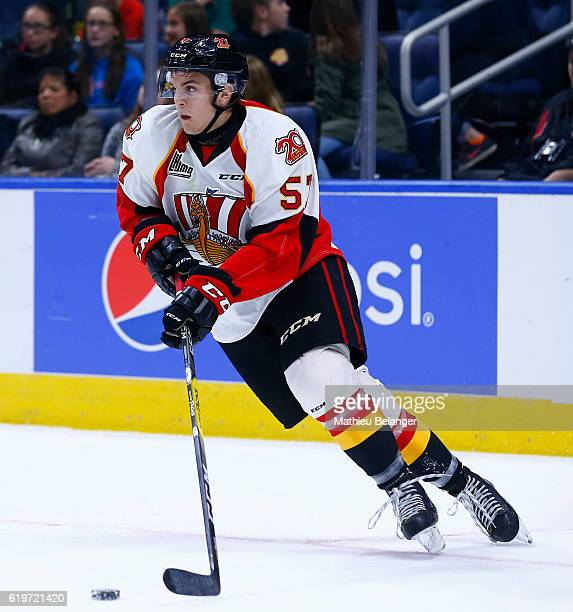 Matteo Pietroniro of the Baie Comeau Drakkar skates against the Quebec Remparts during their QMJHL hockey game at the Centre Videotron on October 14...