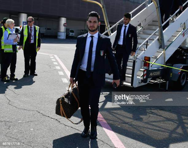 Matteo Politano of Italy arrives to Florence Airport on March 25 2017 in Florence Italy