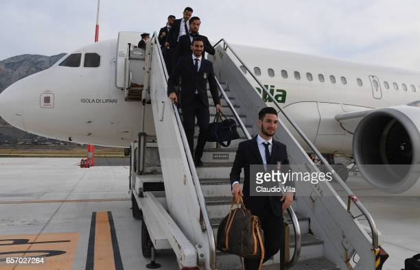 Matteo Politano of Italy arrives to Palermo on March 23 2017 in Palermo Italy