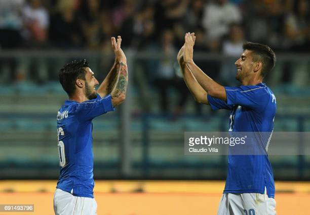 Matteo Politano of Italy celebrates after scoring the septh goal during the international friendy match played between Italy and San Marino at Stadio...