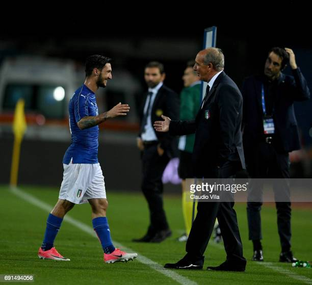 Matteo Politano of Italy celebrates at the end of the international friendy match played between Italy and San Marino at Stadio Carlo Castellani on...