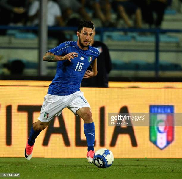 Matteo Politano of Italy in action during the international friendy match played between Italy and San Marino at Stadio Carlo Castellani on May 31...