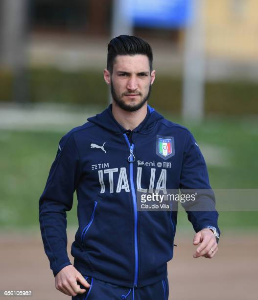Matteo Politano of Italy looks on prior to the training session at the club's training ground at Coverciano on March 21 2017 in Florence Italy