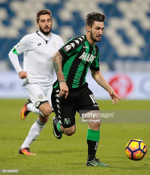 Matteo Politano of US Sassuolo Calcio in action during the TIM Cup match between US Sassuolo and AC Cesena at Mapei Stadium Citta' del Tricolore on...