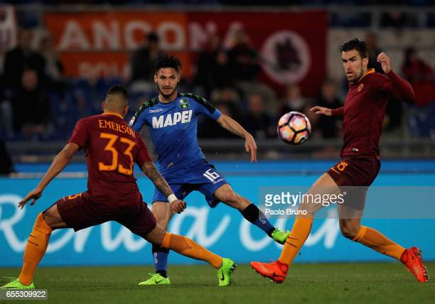 Matteo Politano of US Sassuolo in action during the Serie A match between AS Roma and US Sassuolo at Stadio Olimpico on March 19 2017 in Rome Italy