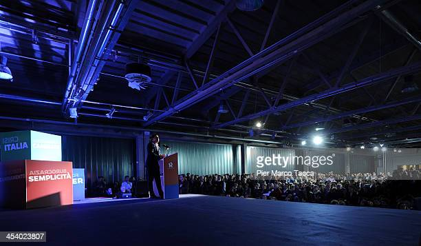 Matteo Renzi a candidate in the primary elections of the Democratic Party speaks at the closing of the electoral campaign on December 6 2013 in Milan...