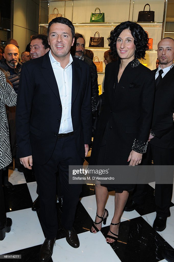 <a gi-track='captionPersonalityLinkClicked' href=/galleries/search?phrase=Matteo+Renzi&family=editorial&specificpeople=6689301 ng-click='$event.stopPropagation()'>Matteo Renzi</a> and Agnese Landini attend opening Prada store in Florence on January 8, 2014 in Florence, Italy.