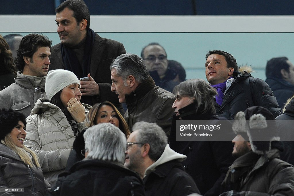 Matteo Renzi (R) attends prior to the Serie A match between Juventus FC and ACF Fiorentina at Juventus Arena on February 9, 2013 in Turin, Italy.