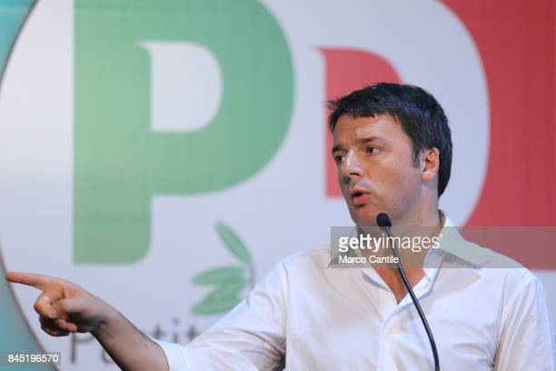 Matteo Renzi leader and secretary of the political movement Partito Democratico during a political meeting